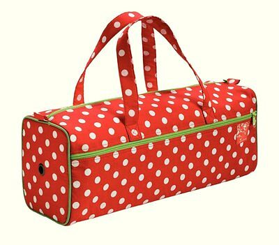 Prym Polka Dot Knitting-Needlework Bag.Red & White With Lime Green Trim - 612210