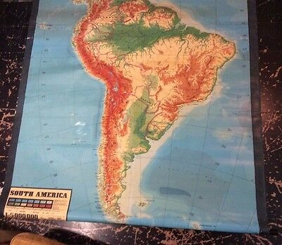 German Educational Giant Wall Map South America Raised Topography inEnglish