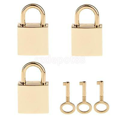 3 X Small Metal Square Padlock Mini Tiny Box Locks With Keys Golden