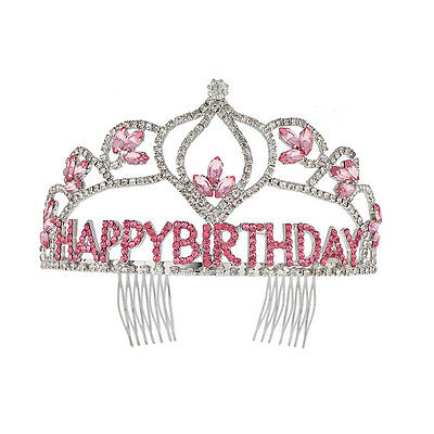 "Lux Accessories ""Happy Birthday"" Tiara Hair Comb"