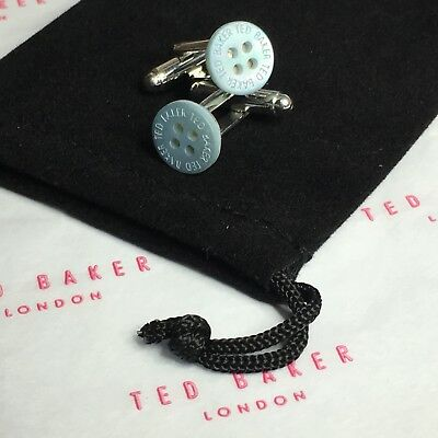 Mens Ted Baker Mother Of Pearl Pale Blue Button Silver Plated Cufflinks + Bag