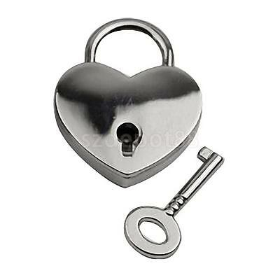 Retro Style Mini Padlock Heart Shape Key Lock Small Suitcase Bag Box Silver