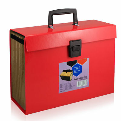 18 Pocket Large A4 Expanding File Organiser Box A4 Document Paper Folder Red