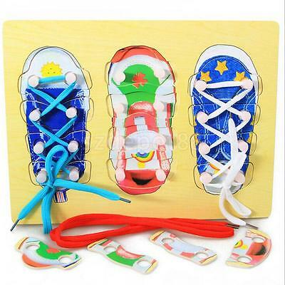 Wooden Tie SHOE LACING Threading Matching Puzzle Educational Preschool Toys