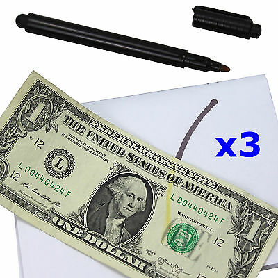 3 Counterfeit Money Detector Test Fake Dollar Bill Currency Check Pen Marker