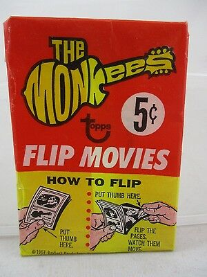 Vintage 1967 Topps The Monkees TV Show Flip Book Movies Wax Wrapper RARE