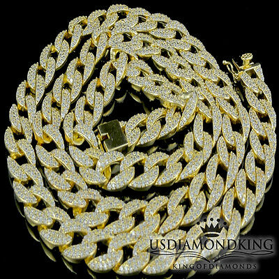 Sterling Silver Miami Cuban Chain Necklace 14k Yellow Gold Finish 12MM 30 inches
