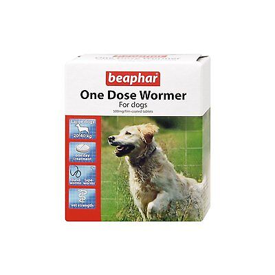 Beaphar Dog Worming Tablets One Dose Wormer Tablets for Large Dogs 4 Pack