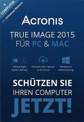 Acronis True Image 2015 3 PC, Win 10/8/7, Mac -inkl. Universal Restore- Download