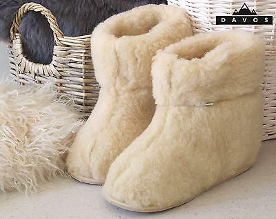 Women's Men's Natural Sheep Snug Sheep Wool Slippers Hard Sole Boots with box