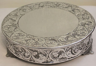 Grand Wedding Silver Round Cake Stand Plateau 16 Inch