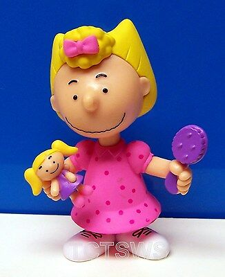 "PEANUTS Just Play ~ Sally w/ Doll Toy & Hair Brush 3"" Collector PVC Figure NEW"