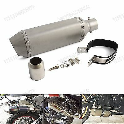 "Universal 38-51mm 12.8"" SS Exhaust Muffler For Motorcycle,Dirt,Scooter ATV Quad"