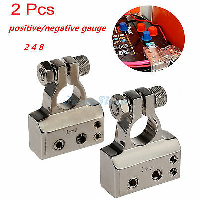 2X Heavy Duty Plated Car Battery Terminals Positive + Negative Connectors Silver