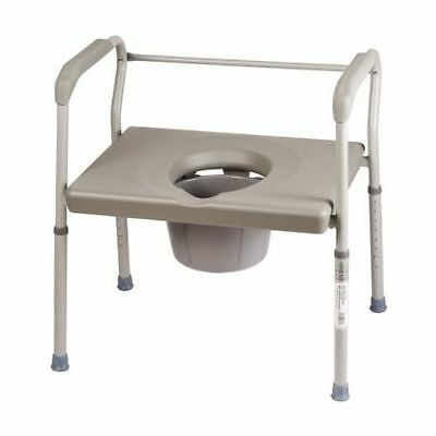 Large Bedside Toilet Steel Commode Chair Portable Safety Medical Bathroom S