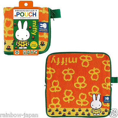 New Dick Bruna Miffy Zipper Towel Pouch Orange For Makeup Cosmetic