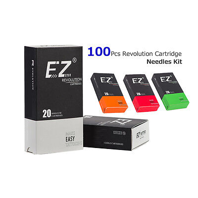 100Pcs New Assorted EZ Revolution Tattoo Cartridge Needles Kit for Liner Shader