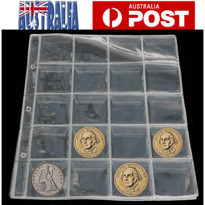 10pcs 20 Pocket Coin Storage Album Page Sleeve Coin Collect Penny Collection AU