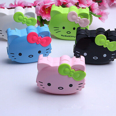 Portable Kitty Contact Lens Case Travel kit Mirror Tweezer Holder Container Box