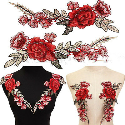 2 Cute Rose Flower Floral Collar Sew Patch Applique Badge Embroidered Bust Dress