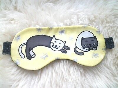 1 Exclusive Pure Silk with Lavender Handmade Eye Sleeping Mask Travel Relax Cat