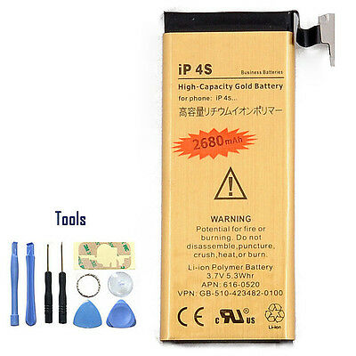 New 2680mAh Capacity 3.7V Gold Replacement Buildin Battery for iPhone 4S + Tools