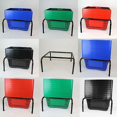 Plastic Shopping Basket - 4 Colours - 5 Pack 10 Pack - With Black Stacker Stand