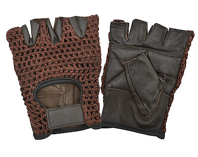 Fitness Gloves Real Padded Leather Weight Lifting Cycling Half Finger Crochet
