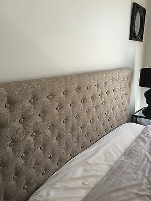King Size BED HEAD HEADBOARD UPHOLSTRED FABRIC BUTTON STUDDED PEARL FABRIC