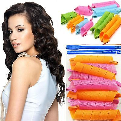 18pcs Fashion DIY Long Hair Rollers Curlers Circle Twist Spiral Ringlets Comb FW