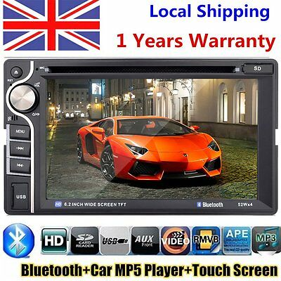 "Double 2 Din 6.2"" In Dash Stereo Car DVD Receiver Player Bluetooth Radio MP5 FM"