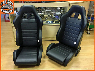 PAIR of BB4 Reclining Tilting Bucket Racing Sports Seats Black Universal Design