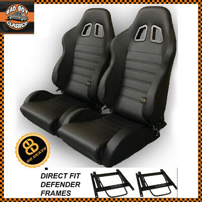 Pair BB4 Reclining Bucket Sports Seats Black + Adaptor Plates LANDROVER DEFENDER