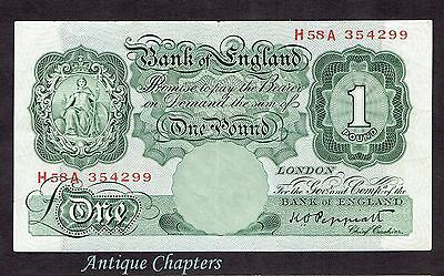 VF Bank Of England One Pound Banknote £1 Note Peppiatt 1948 Unthreaded A264