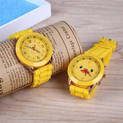 Kids Fashion Catoon Yellow Duck Silicone Analog Quartz Wrist Watch Sport Gift