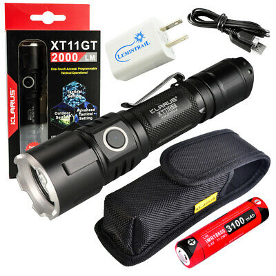 Klarus XT11GT Tactical LED Flashlight 2000 LMN + 18650 + MC1 Charger + USB Plugs
