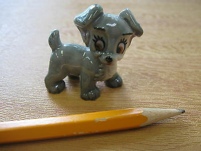 Cute Mini Grey & White Little 'Scamp' Puppy Figurine - Brown Eyes - Ceramic Mini