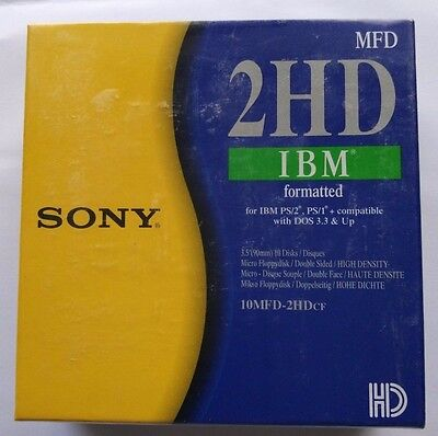"Sony High Density HDD PC Formatted 3.5"" Floppy Disks Brand New Sealed 10x Black"