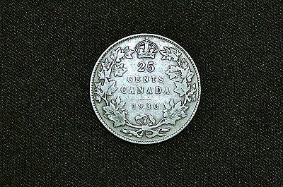 Canada 25 Cents Silver Coin (K), 1930