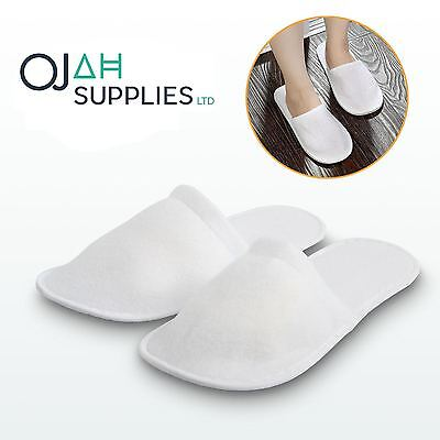 5/10 Pairs White Towelling Closed Toe Hotel Slippers Spa Shoes Disposable