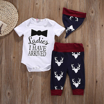 Newborn Baby Boys Girls Tops Romper Pants Hat Outfits Set Christmas Suit Clothes