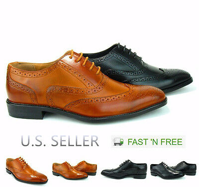 Men's Dress Shoes Full Brogue Wing Tip Formal Semi-Casual Layer Perforation Lace