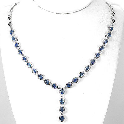 Sterling Silver 925 Oval Genuine Natural Blue Sapphire Necklace 18.5 - 20.5 Inch