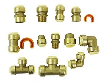 """14 Piece Push-to-Connect Brass Assorted Fittings Contractor Push Fit Kit 1/2""""3/4"""