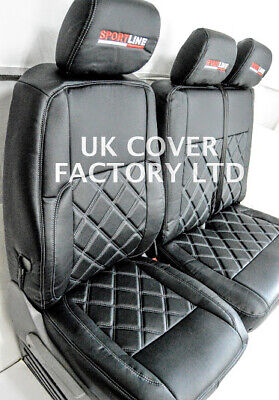 In Stock!! Vw Transporter  T5 Van Seat Covers Bentley  Quilted  X150Bk-Gy- Sl