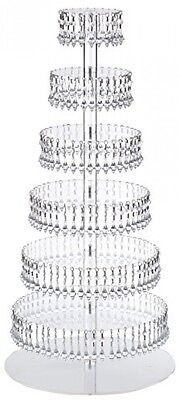 7 Tier Round Acrylic Cupcake Tower Stand W Hanging Crystal Party wedding display