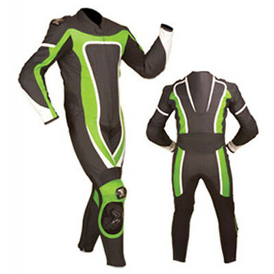 Black & Green Motogp Racing Motorbike Leather Suit Ce Approved Protection