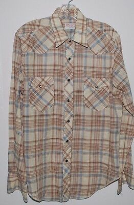 Vintage Western Shirt Wrangler Mens 16/35 Long Sleeve Oxford Plaid Snaps