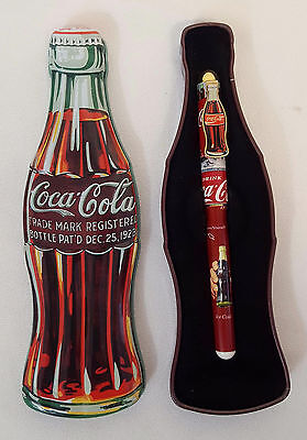 Coca Cola CONTOUR BOTTLE SHAPED Collectible TIN & PEN Gift Set by Pentech MINT
