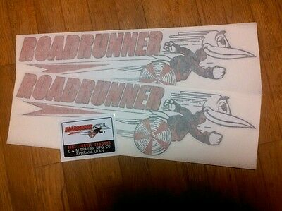 Roadrunner Travel Trailer Decal Black, Red & White 1960's Vintage Style set of 3